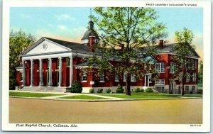 Cullman, Alabama Postcard First Baptist Church  Street View Curteich Linen