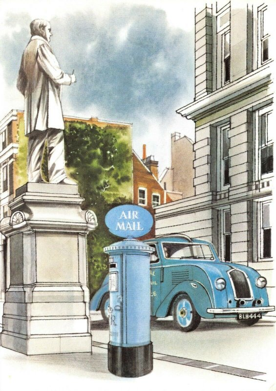 Royal Mail Art Postcard, Air Mail Blue Letter Pillar Box by Ronald Maddox BW4
