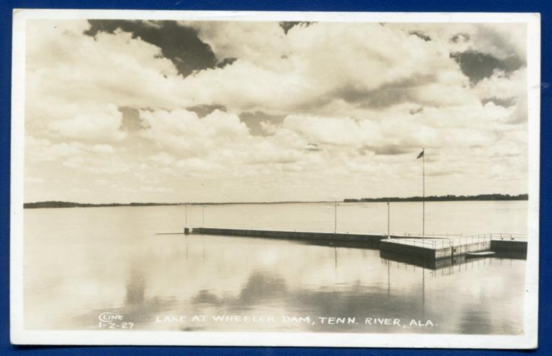 Tennessee River Lake at Wheeler Dam Dock Alabama real photo postcard RPPC