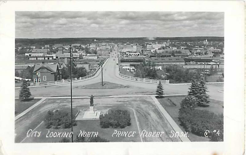 RPPC of the City Looking North, Prince Albert, Saskatchewan, Canada,