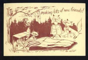 Girl Scout Camp Postcard, 'Making Lots Of New Friends, Two-Cent Stamp, 1950's?