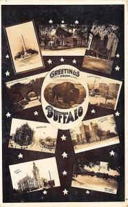 Buffalo NY Multi-Views Buildings Greetings RPPC Postcard
