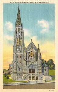 NEW BRITAIN, Connecticut CT   HOLY CROSS CHURCH    c1940's Linen Postcard
