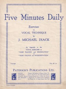 Five Minutes Daily Exercises on Vocal Technique Michael Diack Olde Sheet Music