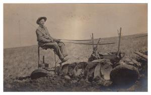 Farmer on Horse Drawn Plow ,  Tilling Field , RPC
