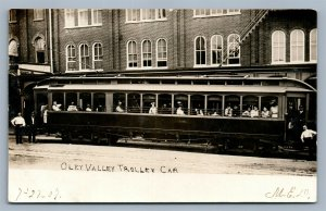READING PA OLEY VALLEY TROLEY CAR ANTIQUE REAL PHOTO POSTCARD RPPC