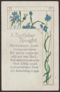 A Birthday Thought,Flowers Postcard