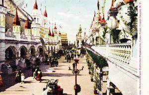 1910s Postcard Glitter Street and Elevated Promenade Luna Park, Coney Island A24