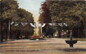Wellsboro Pennsylvania~Boulevard Main Street~Welcome Firemen Banner~1912 Pc