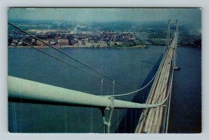 New Castle DE- Delaware, Delaware Memorial Bridge, Aerial View, Chrome Postcard