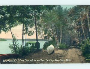 Unused Divided-Back BOAT & LANDING AT BIRCH COVE ON LAKE PEARL Wrenthem MA p1060