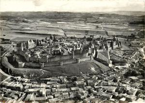FRANCE CARCASSONNE Medieval Citadel Medieval Castle Aerial View RPPC Postcard