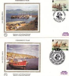 Fishermens Year Isle Of Man Benham 2x First Day Cover
