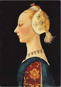 'A Young Lady of Fashion' Paolo Uccello Art Artist Repro Unused Postcard D50