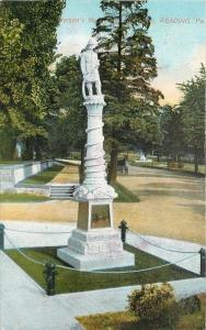 Reading Pennsylvania~Volunteer Firemen Monument~1910 Postcard