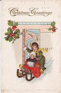 CHRISTMAS, 1900-1910´; Christmas Greetings, Girls Playing With A Sled