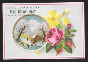 VICTORIAN TRADE CARD Horace Davis Flour Flowers Winter View Person Walking Home