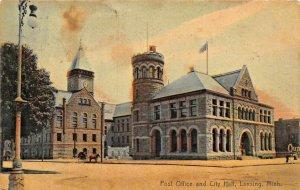LANSING MICHIGAN~POST OFFICE & CITY HALL~1907 ROTOGRAPH PHOTO POSTCARD