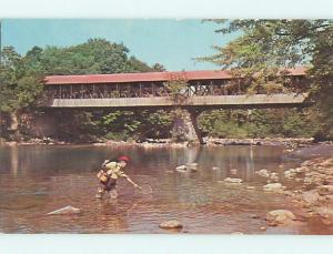 Unused Pre-1980 FISHING - POLE & NET AT COVERED BRIDGE Published in NY t7656
