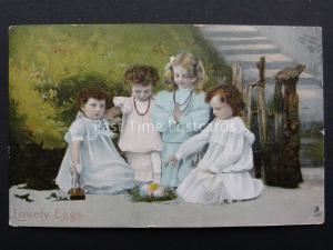 Lovely Eggs CHILDREN KNEELING AROUND EGGS c1907 by Raphael Tuck 6901