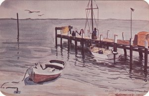 P1788  vintage unused art skippers dock hampton bays L.I. new york signed