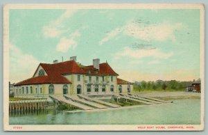 Cambridge Massachusetts~Weld Boat House~6 Boat Ramps into Water~1912 Postcard