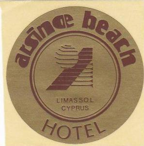 CYPRUS LIMASSOL ARSINOE BEACH HOTEL VINTAGE LUGGAGE LABEL