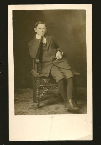 Vernon Photo Co Vernon BC Young Man Posing Black & White Real Photo Postcard