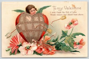 Victorian Valentine~Heart Wrapped in Armor Shield~Arrows Bounce~Cupid~Poppies