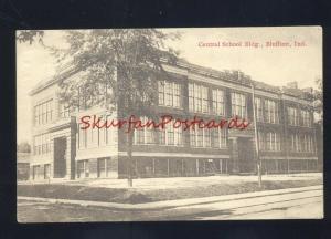 BLUFFTON INDIANA CENTRAL SCHOOL BUILDING ANTIQUE VINTAGE POSTCARD