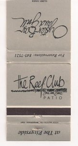 Matchbook Cover ! Reef Club & Oyster Bar, The Riverside, Oakville, Ontario !