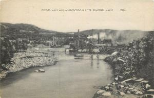 Rumford - Mexico Maine~Oxford Paper Mills & Androscoggin River~1946 Litho PC