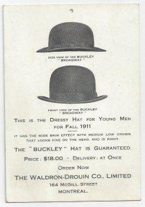 MONTREAL, Quebec, Canada, 1911; Buckley, Bowler hats, Waldron-Drouin Co.