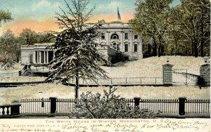 DC - Washington. The White House in Winter circa 1900 (glitter)