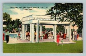 Dallas PA-Pennsylvania, Irem Temple Country Club, Swimming Pool, Linen Postcard