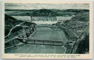 Great Northern Railway Postcard GRAND COULEE DAM Bird's-Eye View Albertype