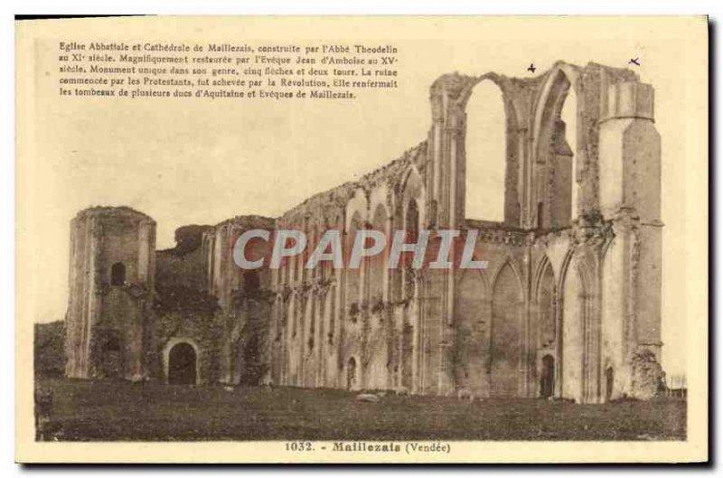 Postcard Old Vendee Maillezais Maillezais Abbey Church
