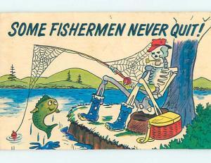 Pinhole Damage Pre-1980 comic FISHERMAN WAITS SO LONG HE'S A SKELETON HJ2109
