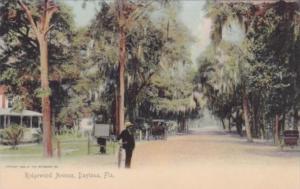 Man With Bicycle On Ridgewood Avenue Daytona Florida Rotograph