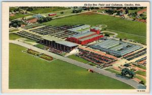 OMAHA, Nebraska  NE   AK-SAR-BEN FIELD & Coliseum  ca 1940s Linen Postcard
