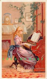 1890 Trade Card: Ariosa Coffee, Girl at Piano