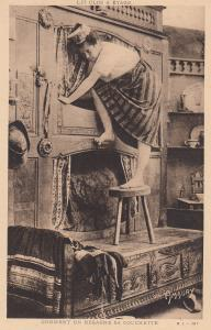 French Maid Climbing Up Cupboards Upskirt View Antique Postcard