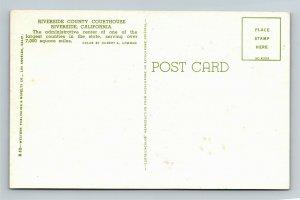 Riverside CA, Riverside County Courthouse, Cars, Chrome California Postcard