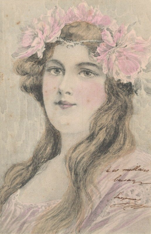 Art Nouveau Elegant Girl With Flowers In Her Hair Vintage Postcard 06.37