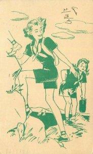 Artist impression Mother & Daughter hiking waterfront 1947 Postcard 21-10705