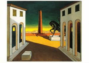 Piazza d'Italia with Horse by Giorgio de Chirico Art Postcard