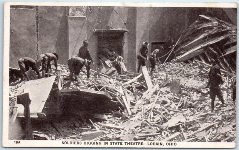 1924 Lorain, Ohio Tornado Postcard Soldiers Digging in State Theatre UNUSED