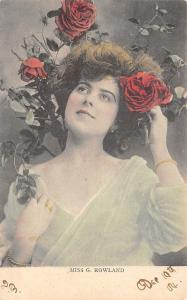 Miss Gaynor Rowlands Edwardian Actress~Gossamer Gown~Red Roses~1904 Postcard