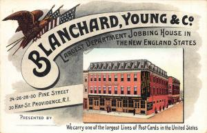 Providence RI Blanchard Young & Co. Largest line of Post Cards Perfin Stamp