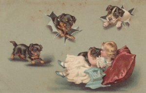 Blonde girl cuddling puppy, More puppies coming out of wrapping paper, 1900-10s